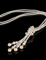 Women's Multi Knot Fashion All-match Pearl Drop Crystal Sweater Necklace