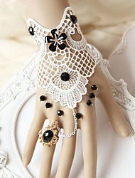 Handmade Back-to-ancients  White Lace Classic & Traditional Lolita Bracelet With Ring