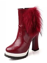 VROUWEN - Booties / enkellaarsjes - Fashion Boots - Laarzen ( Zwart/Blauw/Groen/Rood ) - met Spool Hak - en Kunstleer