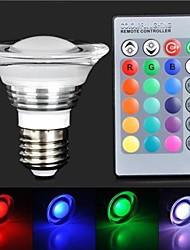 lumière de LED RGB avec télécommande - blanc d'argent (85 ~ 265V) 180lm 3w e27