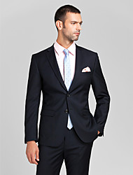 Suits Tailored Fit Slim Peak Single Breasted Two-buttons Polyester 2 Pieces Dark Blue Straight Flapped None (Flat Front) None (Flat Front)