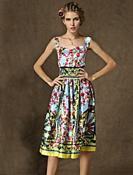 Women's Vintage Swing Dress,Floral Square Neck Knee-length Sleeveless Multi-color Silk Summer