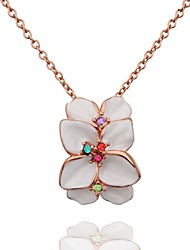 Sweet Flower Shaped Environmental Protection  Alloy Rose Gold  Pendant Necklace For Women's(Rose Gold Plating)(1Pc)