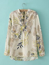Women's V-Neck Printed Bamboo Long Sleeve Chiffon Shirt