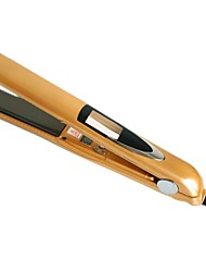LOOF Newest 360 Rotating  Vibrate Plate Titanium Hair Straightening Flat Iron - Yellow (110~240V EU Plug)