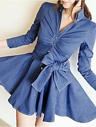 Women's Shirt Collar Denim Dress with Bow Belt
