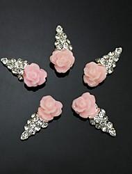 10pcs flor rosa forma sorvete strass 3d acessórios diy da arte do prego decoração