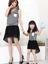Family's Fashion Leisure Mother Daughter Stripe Sleeveless Chiffon Dress