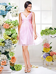 Bridesmaid Dress Knee Length Chiffon A Line V Neck Dress (1466928)