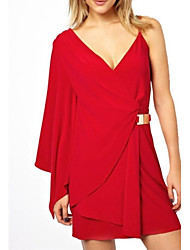 Women's Solid Red Dress , Sexy/Bodycon Deep V Sleeveless