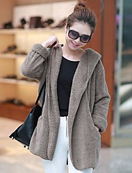Women's Fall And Winter Clothes Large Size Plush Hooded Cape Coat Thick Warm Coat