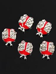 10pcs forma bonito do joaninha por gotejamento de óleo vermelho liga strass 3d arte decoração de unhas