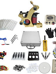 1 Gun Complete No Ink Tattoo Kit with Golden Tatoo Machine For Liner and Golden Engraved Power Supply