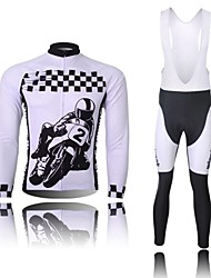 XINTOWN Men's Car Logo Quick Dry Moisture Absorption Long Sleeve Bib Tights Cycling Suit—White+Black