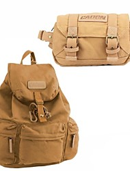 Canvas Backpack SLR DSLR Digital Camera Gadget Organizer Bag + Compact Camera Waist Bag - Khaki