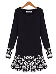 Lidia Women's Long Sleeve Round Collar Slim Flower Print Dresses