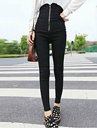 Frauen sexy Mantel einfarbig Reißverschluss lange Hosen
