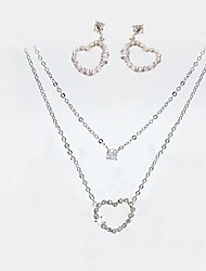 Korean Ladies Heart Shining Diamond Earrings Necklace Set