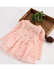 Girl's Spring or Autumn Long Sleeve Lace Print Dresses