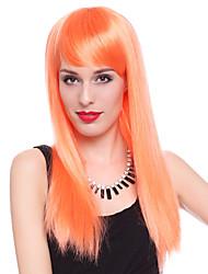 club de naranja recta larga fiesta de halloween peluca los 61cm de las mujeres de la reina