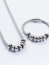 Fashion Silver Titanium Steel Charming Beads Snake Chain Necklace and Bracelets Sets