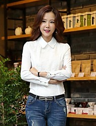 Women's Formal Simple / Street chic Spring / Fall Blouse,Solid Shirt Collar Long Sleeve White Opaque / Thin