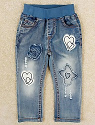 Children's Fashion Jeans Denim Pants Sweet Heart Embroidery Casual Kids Girl's Jeans Random Print