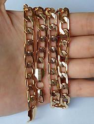 homens Banhados a ouro 18k colares Figaro pedaços 8 milímetros 55 centímetros com selo