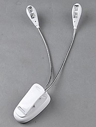 New Slim White 2 Dual Flexible Arms 4 LEDs Clip-on Light Lamp for Piano Laptop