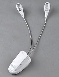 neuen schlanken weißen 2 Dual flexiblen Arme 4 LED Clip-on-Lichtlampe für Klavier Laptop