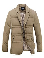 Men's Regular Down Coat , Others Pure Long Sleeve