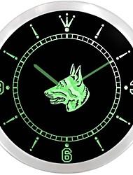 German Shepherd Dog Pet Shop Neon Sign LED Wall Clock