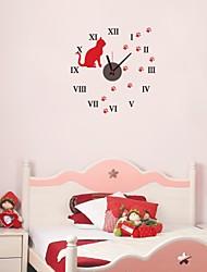 zooyoo® электронный хронометрист батареи DIY круглые настенные часы с рыжий кот черный указателя стикер стены домашнего декора для комнаты