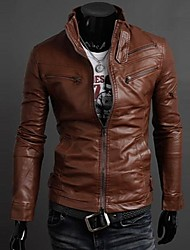 Men More Than Zipper Simple Collar Motorcycle Leather Jackets
