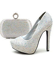 Women's Spring / Summer / Fall Platform / Shoes & Matching Bags Glitter Dress / Party & Evening Stiletto Heel Silver