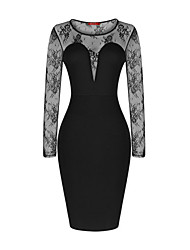 Womens Long Sleeve Celebrity Mesh Insert V-neck Midi Wedding Party Bodycon Dress