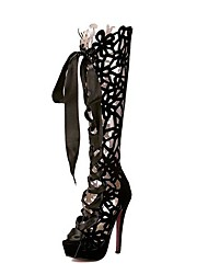Women's Spring Summer Fall Fashion Boots Cashmere Party & Evening Dress Stiletto Heel Ribbon Tie Hollow-out Black Red