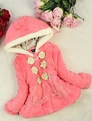 nuovo fiore lato fashion fuax pelliccia del cappotto del merletto del cotone dolce della ragazza