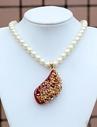 S-Shaped Crystal Alloy Pendant Imitation Pearl Necklace(1Pc)