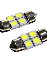 4*5050 SMD LED 31mm Car Interior Dome Festoon White Bulb Light (DC12V 2PCS)