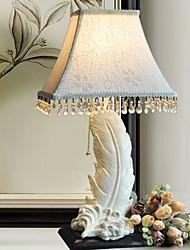 lámparas de escritorio blancos de resina 220v plumas de tela europeo clásico retro