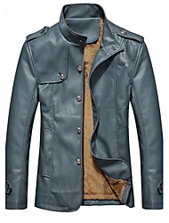 Men Faux Leather Outerwear