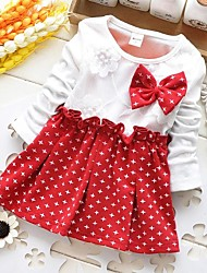Girl's Red Star Cotton Bow Sundress Spring And Autumn Baby Child Clothes Dresses