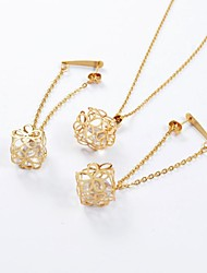 Fashion Gold Titanium Steel Hollow Out Daisy CZ Diamond Inside (Necklace&Earrings) Jewelry Set