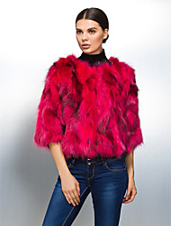 Long Sleeve Collarless Raccoon Fur Party/Casual Jacket(More Colors)