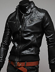 Charels Men's Causal Stand Collar Leather Clothing Jacket