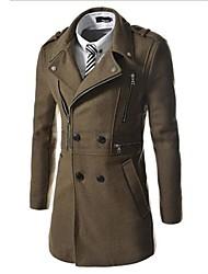 Men's New Tweed Long Paragraph Multiple Zippers Long Sleeve Overcoat