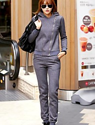 Women's Korean Casual Woolen Sweater Suits (Hoodie&Pant)