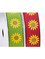 3/8 Inch Halloween Series Magic Sunflower Pattern Rib Ribbon Printing Ribbon- 25 Yards Per Roll (More Colors)