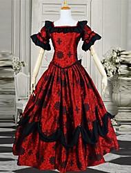 Flare Short Sleeve Floor-length Slash Neckline Red Jacquard Victorian Gothic Lolita Dress